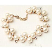 "Ivory White Pearl Bracelet Crystal Rhinestone Gold tone 7.5"" +2"""