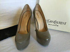 YSL Yves Saint Laurent Tribtoo 105 Grey (Mouse) Pebbled Leather Shoes Size 38