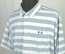 Men's Under Armour Heat Gear Short Sleeved Striped Stretch Polo Golf Shirt 3XL