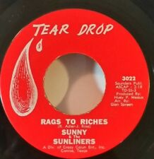 Sunny & Sunliners  Tear Drop 3022   RAGS TO RICHES  (GREAT SOUL 45) OBO VG++