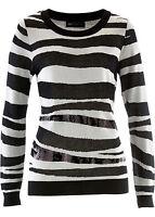 Damen Pullover Pulli Sweater Rundhals Langarm Freizeit Zebra Größe 52 / 54 NEU