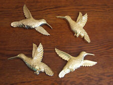 Vtg 1985 HUMMINGBIRD Lot of 5 Gold-Tone Wall Plaques Syroco Resin Home Interior