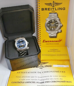 Recent Factory Service Breitling Emergency E76321 Titanium Watch Box Papers