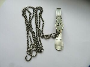 Antique French Solid Silver Chatelaine Clip with 2 Long Chains