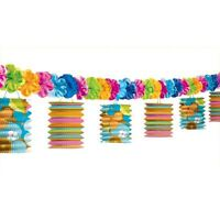 12ft Hawaiian Tropical Tiki Luau Paper Lantern Garland Party Decorations