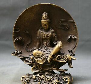 """7.9"""" Buddhism old Bronze Udakacandra Kuan-yin Guanyin Boddhisattva Sit Statue"""