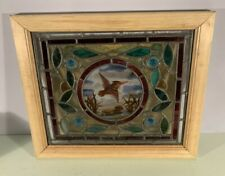 Antique 1880's English small stained glass & jewel window sash bird center
