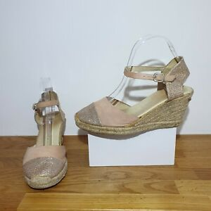 £135 RUSSELL & BROMLEY Coconut Nude Suede Silver Espadrilles Wedges Heels Size 5