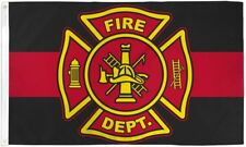 "Fire Department Thin Red Line Big 3x5' Flag New Honoring Firefighters 36""x60"""