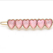 Beautiful Baby Pink Gold Tone Hearts Cluster Hair Frog Pin Accessories HA30