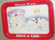 "COCA COLA COKE METAL TRAY ""POLAR BEAR FUN"" W/ tray magnet SIGN"