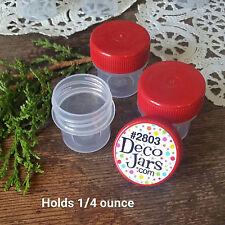 50 Vial RED Cap Pot JAR Bottle 1/4oz container Powder DecoJars #2803 USA New