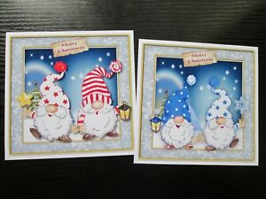 NEW ===== 2 X MERRY CHRISTMAS GNOMES Card Toppers & Sentiments