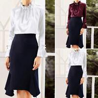 Women Satin Ruffle Office Shirt Ladies High Neck Formal OL Blouse Tops Plus Size