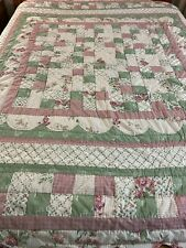 "CUTE Vintage Hand Quilted 4 Patch Quilt Scallop sashing and Edges 86 x 86"" Queen"