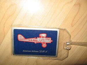 American Airlines Luggage Tag - Vintage AAL DH-4 Playing Card Suitcase Name Tag