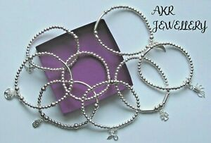 STERLING SILVER STRETCH BEADED STACKING BRACELETS CHOOSE BEE TREE LIFE TOGGLE