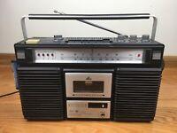 SEARS Electronics 19886 Portable AM-FM Cassette Recorder 8-Track Player VINTAGE