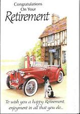 CONGRATULATIONS ON YOUR RETIREMENT - YESTERYEAR - RED CAR, DOG, OLD PETROL PUMPS