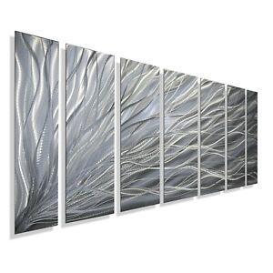 Abstract Metal Wall Art Sculpture Modern Silver Decor Original Signed Jon Allen
