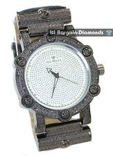 mens diamond retro dress watch gunmetal ice out designer white dial maxx leather