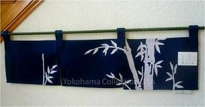 "33.5W x 10""L Indigo Noren Curtain Tapestry 3-Panel Sushi Bar Bamboo/Made Japan"