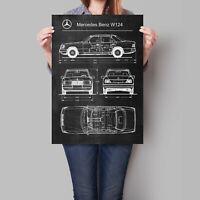 Mercedes Benz W124 Car Poster Retro Patent Blueprint Art Print