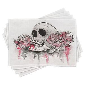 Tag der Toten Platzmatten Schädel-Kopf-Rosen Platzmatten 4er Set Waschbar