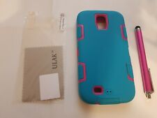 ULAK Galaxy S4 Case Hybrid Shockproof Silicone Rubber Hot Pink Aqua Blue C22