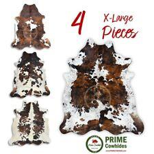 COWHIDE RUG - Tricolor, High Quality, Hair on Hide, Extra Large (XL), 4 Pieces