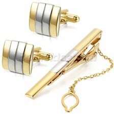 Mens Business Wedding Party Cufflinks Cuff Links Tie Clasp Clip Bar Set For Gift