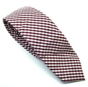 "Superdry Men's Tie Burgundy Check Poly Wool Blend 2.25"" Width 60"" Length"