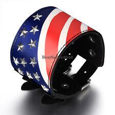 USA National Flag Design Wide Black Leather Belt Cuff Bangle Unisex Bracelet
