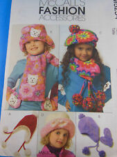 McCall's 5254 Fleece Accessories Scarf Hat Beret Mittens Uncut Child's size