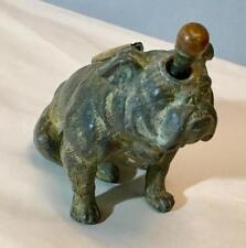 VINTAGE ANTIQUE ENGLISH RONSON BRONZE BULL DOG STRIKER LIGHTER COMPLETE 1930'S