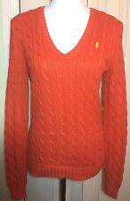 Ralph LAUREN SPORT Donne Arancione v Collo Cavo Maglione Pullover Taglia S