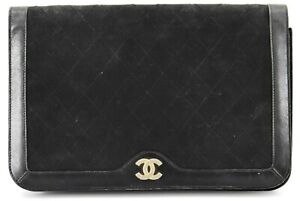 Auth CHANEL Black Cotton Leather Quilted Matelasse Push Lock Clutch bag France