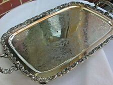 Antique Vintage ONEIDA Ornate Silver Plate Butler's Serving Tray w/Handles/Feet