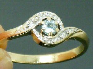 9ct Gold Sapphire & Diamond Hallmarked Cluster Ring size Q