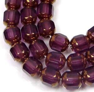 25 Czech Antique Style Octagonal beads - Bronze: Amethyst 6mm
