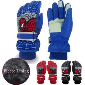 Winter Boys Waterproof Windproof Warm Gloves Kids Spiderman Skiing Snow Gloves