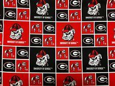"""GEORGIA BULLDOGS 45"""" Cotton Fabric BTY Sykel Enterprises AO"""