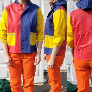 Color Block Kids Or Cropped Rain Jacket Coat Red Yellow Blue Waterproof Primary