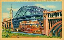 Postcard High Level Bridge Looking East Showing Terminal Tower Cleveland Ohio D2
