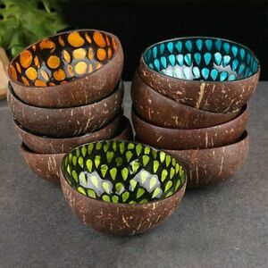 Creative Natural Coconut Shell Bowls 12-15cm Wooden Salad Noodle Rice Containers