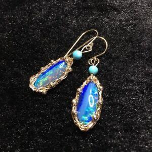 Australia Doublet Opal Earrings/Dangler in 14KGF W/natural Calaite OriginalWorks