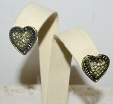 "New $100 HEIDI DAUS ""Heidi's Heartbreaker"" HEART Shaped Crystal Earrings Clip On"