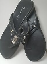 Bare Traps Womens Ladies Black Leather Wedge  Jenny Thong Slides Sandals  8 Med.