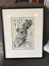 MARGARET ANN GAUG LISTED CHICAGO ARTIST SMALL SIGNED ETCHING Koalas