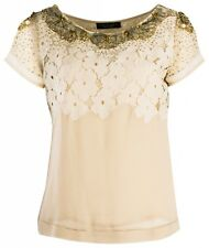 NS TWIN SET SIMONA BARBIERI GOLD BEIGE WHITE APPLIQUE TOP T2S5AU XS,S,,M,L £189